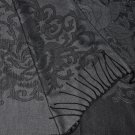 Shawl Scarf Black with Tatoo Style Grey Floral Pattern ~ Dual SIded