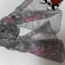 Neck Scarf - Light Weight - Grey floral with a Pink Pattern