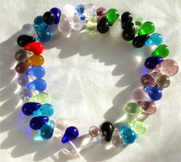 6/4mm Bright Bold Color Mix Teardrop Fringe Glass Beads