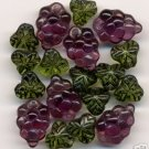 Purple Grapes Beads + Beautiful Green Fruit Leaf Inlay Glass Beads