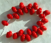 Really Red Cute Strawberry Czech Glass Fruit Beads