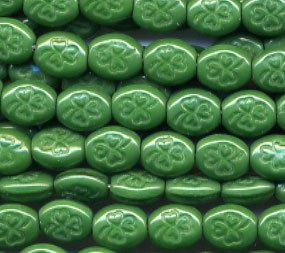 St Patrick's Day Irish Green on Green Shamrock Glass Opaque Beads 25