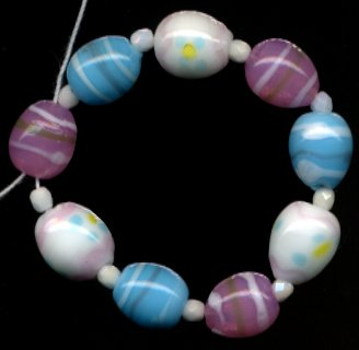 Easter Egg Lampwork Glass Beads Pastel Colors Cute