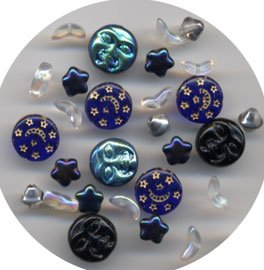 Moon Face, Stars, Planet Glass Bead Mix 28