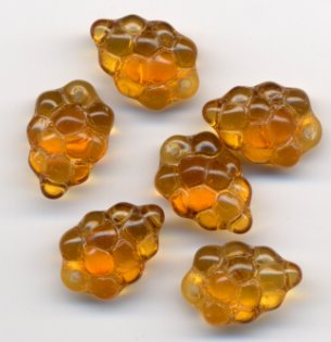 Gold Topaz Grape Beads Glass Fruit Charms 12