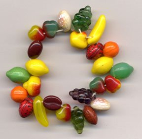 Fruit Salad Mix Glass Beads 25 PCS 2 of each + 3 grapes