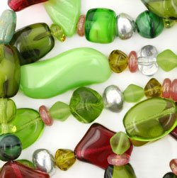Cubes Round Saucers Bicone Twists Glass Bead Pressed Mix Green and Fuchsia Color