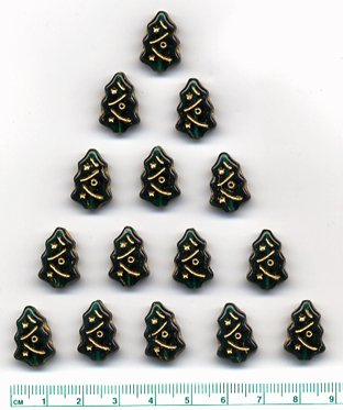 Christmas Tree Beads Green w Gold Etch Glass