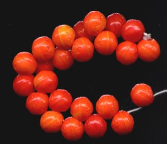 12 Pcs Shades of Tangerine Orange Fruit CZ Glass Beads NEW!
