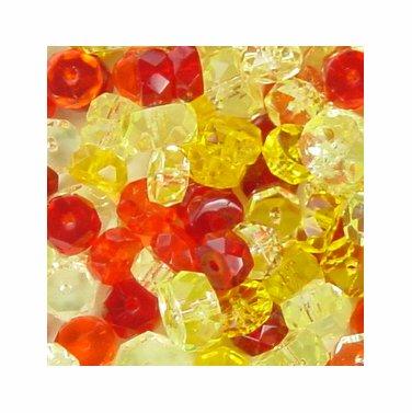 Citrus Fire Polish Czech Crystal Rondell Mix 50 pcs