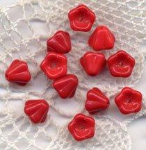 Red Opaque Glass trumpet Cup Czech Glass Flower Beads