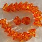 3 Petal Orange Glass Lily Trumpet Flower Beads 12pcs