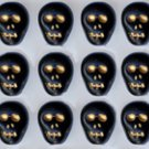 12 Black Skull Beads Glass Czech Day of the Dead Halloween Fun