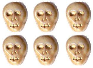 12 Bone/Ivory Color Skull Skeleton Beads Czech Glass Fun!