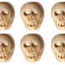 12 Bone/Ivory Color Skull Skeleton Beads Czech Glass Fun!
