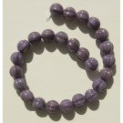 Melon Rounds 8mm Opaque Purple Luster Glass Beads