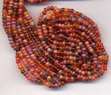 VIBRANT AUTUMN SEED BEADS 6/0 MIX ORANGE BROWNS MAUVE +