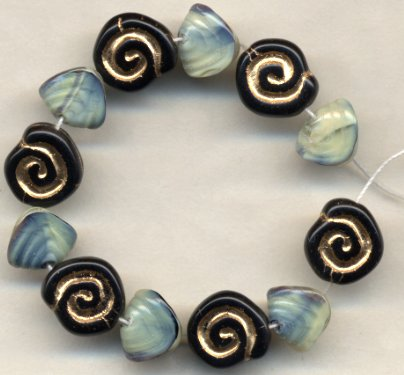 Czech Snail Nugget and Spiral Disc Glass Beads Sea Life