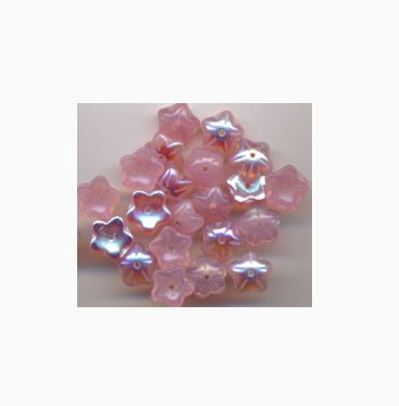 Pink Opal AB Czech Star Petal Glass Flower Beads 20 Pcs