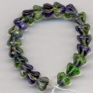 Blue and Green Swirl Glass Flower Beads 25 Mini Baby Bells
