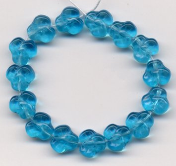 PANSY FLOWER GLASS BEADS 10mm AQUA