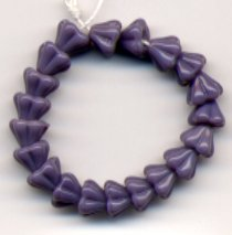 Purple Lilac Opaque Bell Glass Flower Beads 4x6mm