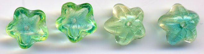 Green/Aqua Czech Star Petal Glass Flower Beads