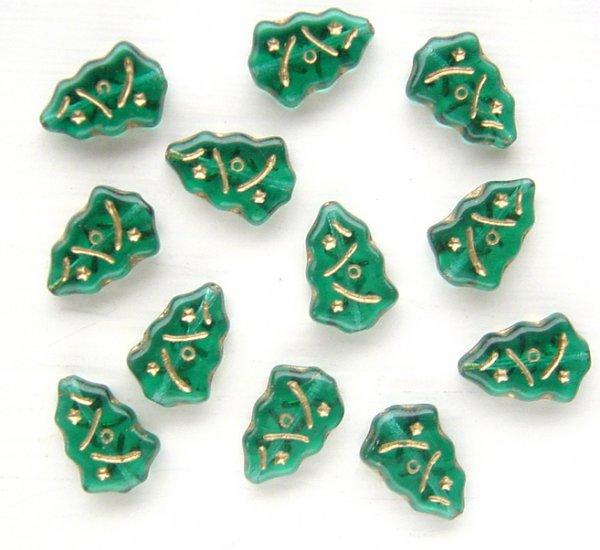 Christmas Tree Beads Emerald Green w Gold Inlay Glass