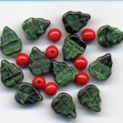 Christmas Ivy Leaves w Winter Holly Red Berry Bead Mix