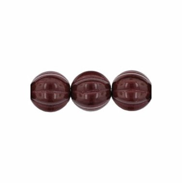 Melon Rounds 8mm Opaque Cocoa Bean Brown Glass Beads