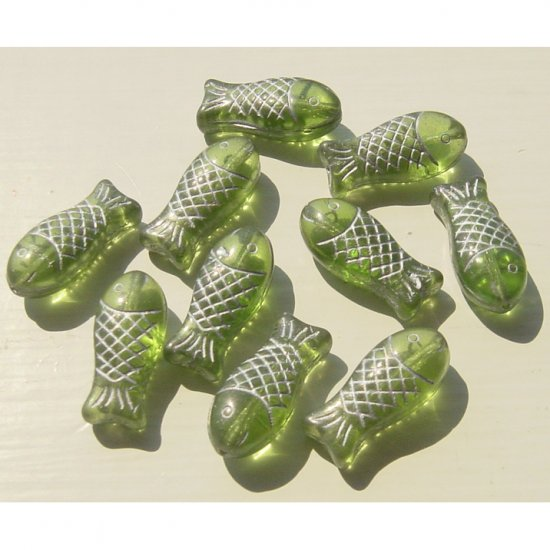 Olive Green Salmon Fish Beads Glass 20x7mm Detailed Big