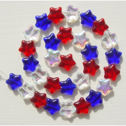 Red White and Blue Star Glass Bead Mix 30 Pcs 4th of July Fun
