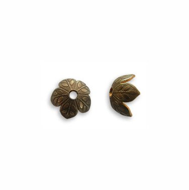 8mm Flower Foliage 5 Petal Brass Bead Cap Vintaj