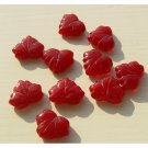 Czech Leaf Beads Cranberry Red Color Glass