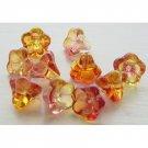 Golden Yellow and Pink Fuchsia Swirl Trumpet Flower Czech Glass Beads 11mm Two Tone