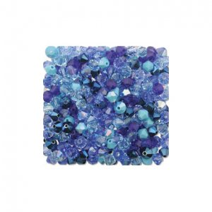 4mm Blue Mix Swarovski 5301 Bicone Crystal Mix