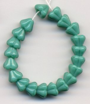 Turquoise Baby Bell Flower Beads Czech Glass