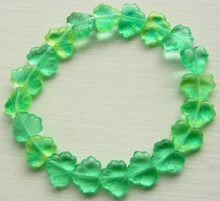 Green Jonquil Aqua Leaf Bead 11x 14mm