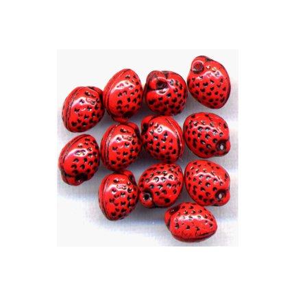 Red Strawberry Beads Czech Glass Fruit Beads