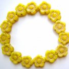 Sunflower Yellow with Gold Inlay 5 Petal Flat Flower Glass Beads