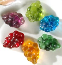 Harvest Grape Mix Glass Wine Bead Charms Green Purple Red Gold Blue