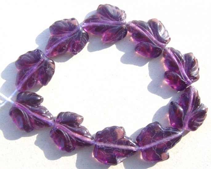 Grape Leaf Beads Big Glass Deep Purple Amethyst