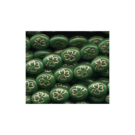 25 Irish Emerald Green w/Gold Outline Shamrock Czech Glass Beads
