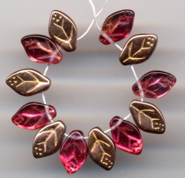 Ruby Leaves w Copper Glass Beads Czech Vintage Style