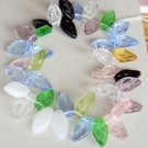 Summer Pink Green Purple White Black Glass Leaf Beads
