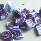 Blue and Purple Stripe 9x12mm Glass Leaf Bead