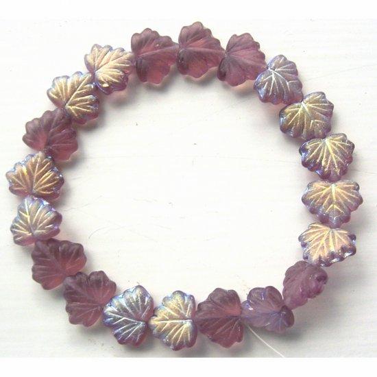 Dk Amethyst Frost AB Leaves Czech Glass Beads New
