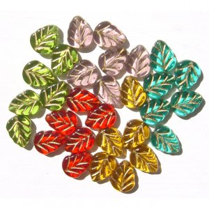 Autumn Colors Leaves Glass Beads Red Green Teal Topaz  Harvest Leaf Beads