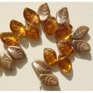 Topaz w Copper Glass Leaf Beads Autumn Colors 1.50 postage