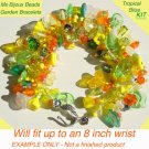 Tropical Garden Fringe Bracelet Bead Kit Orange Yellow Green